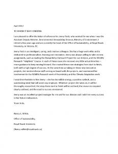 Nancy Wilkin's Reference Letter