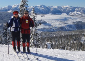 Jenny Feick and her husband, wildlife manager, Ian Hatter, cross country skiing at Mount Washington, Vancouver Island.