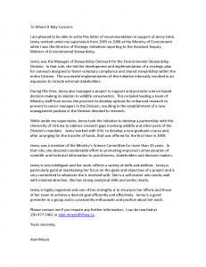Letter of reference from Alan Moyes