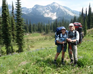 Jenny and her husband Ian backpacking in Mount Revelstoke National Park, BC